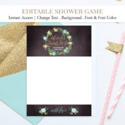 editable baby shower advice card floral wreath gold and blue baby boy c3 5c593cb8