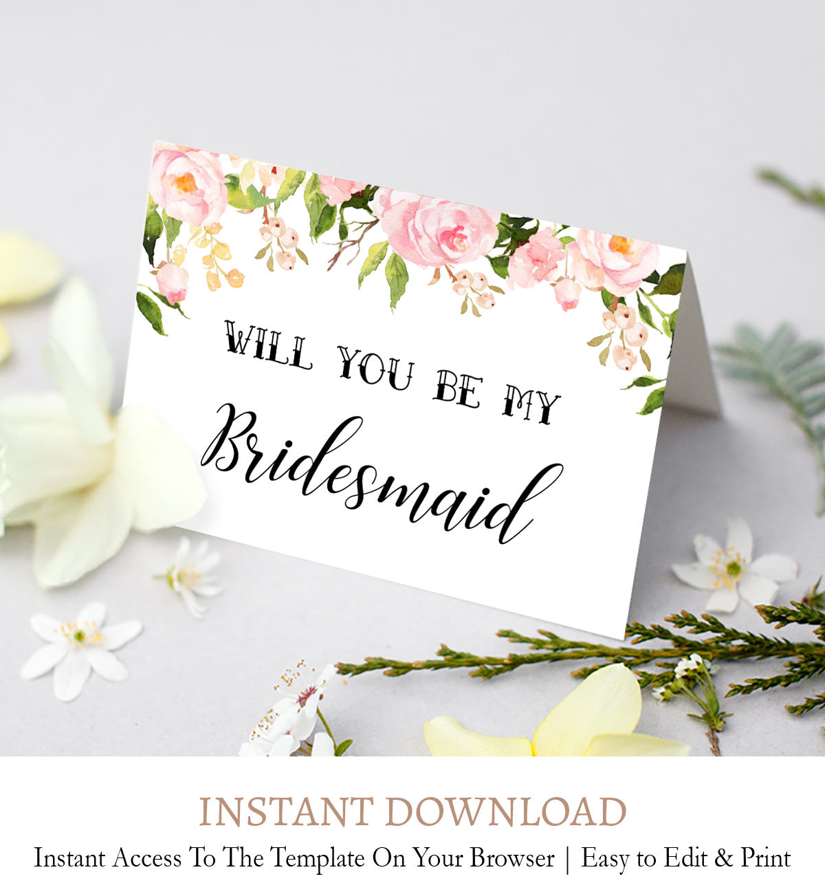 Editable Bridesmaid Proposal Card, Maid of Honor Printable Instant Download  F23 Throughout Will You Be My Bridesmaid Card Template