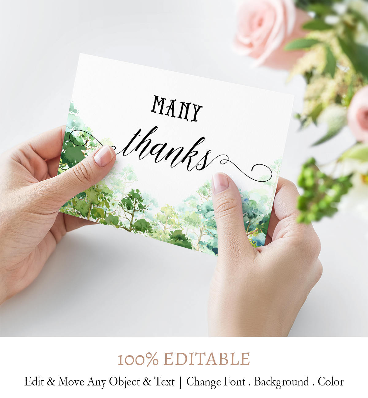forest theme thank you card printable template digital